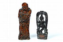 TWO CARVED WOODEN FIGURES.