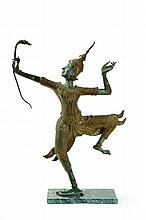 BRONZE FIGURE WITH BOW.