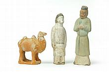 THREE POTTERY FIGURES.