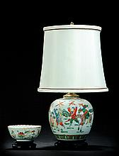 PORCELAIN LAMP AND BOWL.