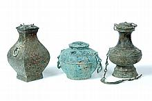 THREE BRONZE VASES.
