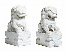 PAIR OF ALABASTER FOO DOGS.
