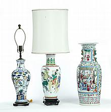 THREE PORCELAIN VASES.