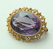 AMETHYST PIN AND CARTIER PEARL COVER.