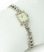 14K WHITE GOLD AND DIAMOND LADIES' HAMILTON WATCH