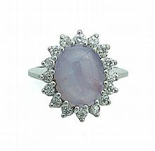STAR SAPPHIRE AND DIAMOND RING