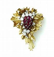 HENRY DUNAY DIAMOND AND RUBY BROOCH