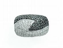 BLACK AND WHITE DIAMOND PAVE BAND