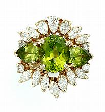PERIDOT RING WITH DIAMOND JACKET