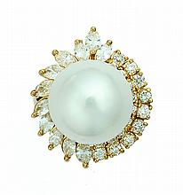 SOUTH SEA WHITE PEARL AND DIAMOND RING