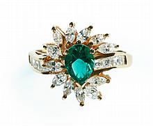 SYNTHETIC EMERALD AND DIAMOND RING