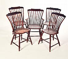 FIVE MATCHING STEPPED-CREST WINDSOR CHAIRS.
