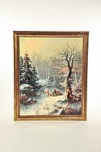 FRAMED WINTER SCENE BY JOHN J. ZANG (GEORGIA/NEW YORK, B. 1859).