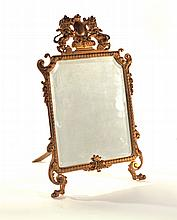 BRASS TABLETOP MIRROR.