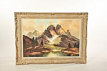 MOUNTAINSCAPE BY A. LUNKE (MUNICH, 20TH CENTURY.)
