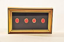 FIVE FRAMED MEDALLIONS.