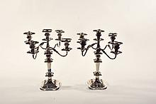 PAIR OF SILVERPLATE CANDELABRA.