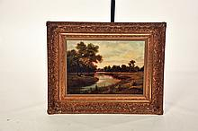 GILT FRAMED OIL PAINTING.