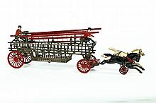 CAST IRON HORSE DRAWN LADDER WAGON.