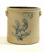 FIVE-GALLON STONEWARE CROCK.