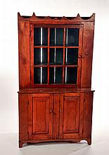 PRIMITIVE STEPBACK CUPBOARD.
