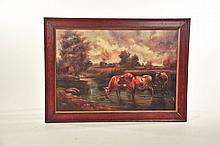 FRAMED LANDSCAPE WITH COWS.