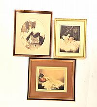 THREE FRAMED ART DECO PRINTS.