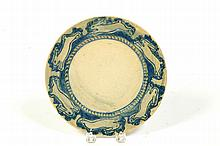 RABBIT PLATE SIGNED PEWABIC.