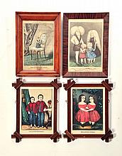 FOUR FRAMED PRINTS: CURRIER & IVES AND KELLOGGS.