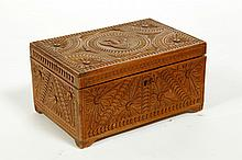 CHIP CARVED BASSWOOD BOX.