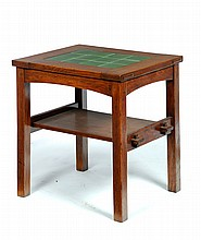 SIDE TABLE BY GUSTAV STICKLEY SET WITH GRUEBY TILES.