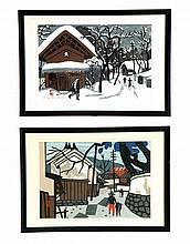 PAIR OF WOODBLOCKS BY KIYOSHI SAITO (JAPANESE, 1907-1997).