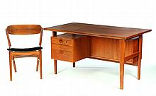 DANISH MODERN DESK AND CHAIR BY ANDRE VODDER FOR SIBAST FURNITURE.