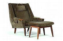 MID CENTURY ARMCHAIR AND OTTOMAN.