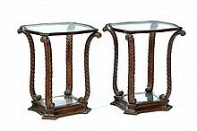 PAIR OF HOLLYWOOD REGENCY SIDE TABLES.