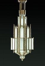 MONUMENTAL CAST BRONZE ART DECO CHANDELIER.
