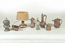 GROUP OF COPPER AND BRASS SERVING VESSELS.