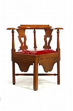 GEORGE III CORNER OR ROUNDABOUT CHAIR.