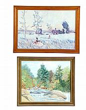 ****TWO OIL ON CANVAS LANDSCAPE PAINTINGS.