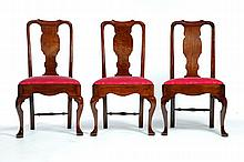 ASSEMBLED SET OF SIX QUEEN ANNE CHAIRS.