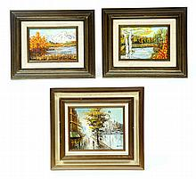 THREE LANDSCAPE PAINTINGS.