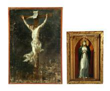 TWO RELIGIOUS PAINTINGS.