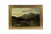 LANDSCAPE WITH SHEEP ATTRIBUTED TO GEORGE PAUL CHALMERS (UNITED KINGDOM, 1833-1878).