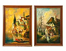 PAIR OF LANDSCAPES BY JEAN AVEL (AUSTRIA, B. 1932).