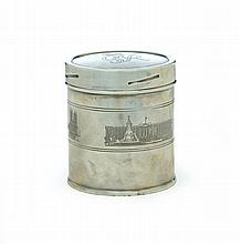 GEORGE VI SOUVENIR SILVER TEA CADDY.