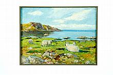 LANDSCAPE WITH SHEEP BY AXEL HANSEN (DENMARK, 1896-1936).