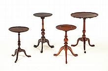 FOUR QUEEN ANNE- AND CHIPPENDALE-STYLE CANDLESTANDS.