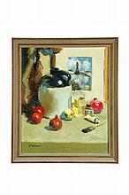 STILL LIFE OF FRUIT BY C. MARLOW (AMERICAN SCHOOL, 20TH CENTURY).