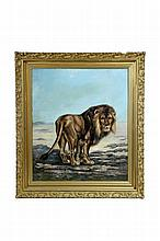 PORTRAIT OF A LION BY E.S. CAUL (EUROPEAN SCHOOL, LATE 19TH-EARLY 20TH CENTURY).
