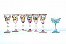 SEVEN DECORATED GLASS WINES.